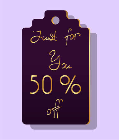 Label with discount golden letters and fifty per cent off text.