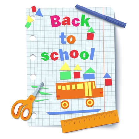 Top view of a yellow school bus applique on a sheet of notebook paper. back to school inscription made of multi-colored paper on a piece of squared graph sheet. scissors, ruler, felt-tip pen. Vector