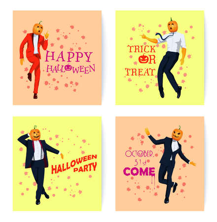 Set of elegantly dressed in a tuxedo suit jack o lantern characters. Men in pumpkin face masks dance in variable poses. All Saints Eve concept greeting cards. Vector flat design illustrations.