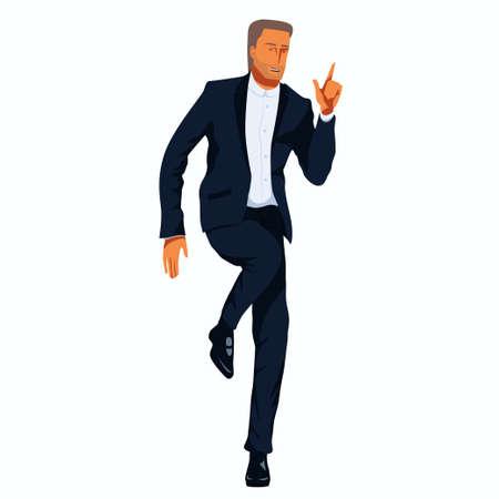 Senior man in a tuxedo is dancing.