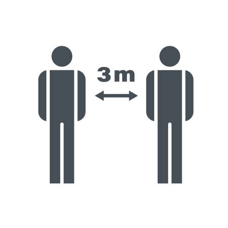 Vector social distance icon. Warning sign illustrating that distance between people must be at least 3 meters. Covid-19 warning. Çizim