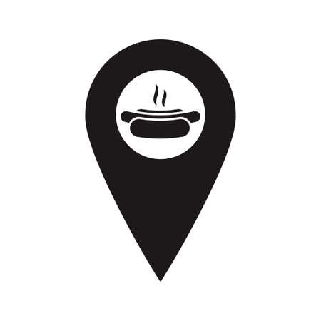 Black Map Pointer with hot dog icon inside. Fast food restaurant marker. A place to eat. You are here navigation symbol. Vector flat design map marker icon that points location. Web element design.