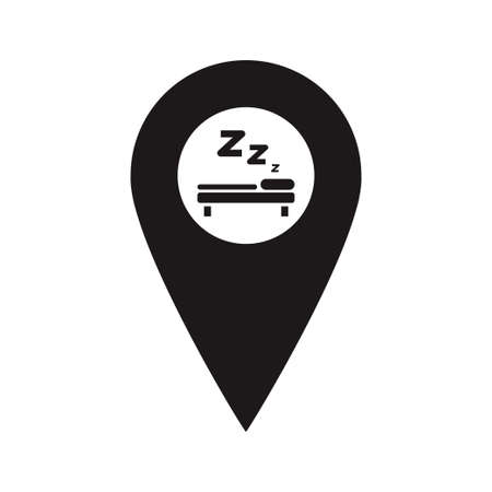 A place to sleep. You are here symbol. gps navigation. Vector flat design map marker icon that points location. Web element design.  イラスト・ベクター素材