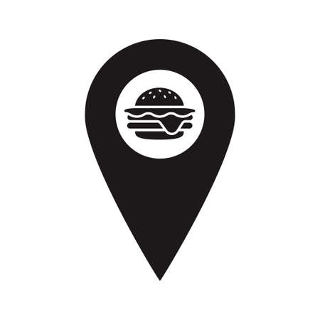 Black Map Pointer with hamburger inside. Fast food marker. A place to eat. You are here symbol. gps navigation. Vector flat design map marker icon that points location. Web element design.