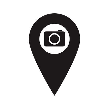 Black Map Pointer with photo camera inside. Place marker. A place to take picture. You are here symbol. gps navigation. Vector flat design map marker icon that points location. Web element design.
