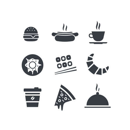 Food and drink icon set. Vector flat design web icons illustration. Hamburger, hot dog, cup of coffee or tea, donut, sushi, croissant, takeaway coffee, slice of pizza and dish tray with cloche lid. 矢量图像
