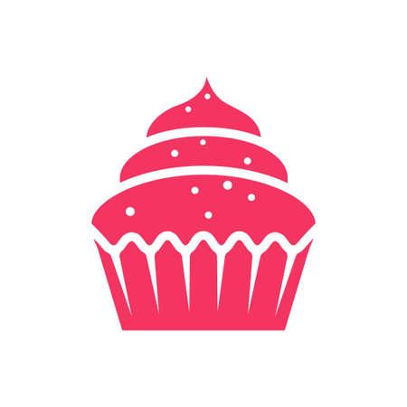 Vector flat design creamy cupcake pink icon.