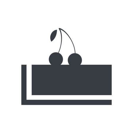 Vector flat design black piece of cake with cherry on top icon. Dessert food. 向量圖像