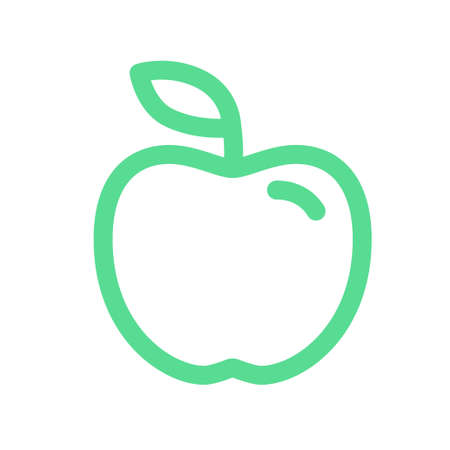 Cute apple fruit icon isolated on white background. Vector flat design tasty illustration. Symbol of healthy eating.
