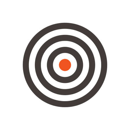 Target vector flat design icon. Dartboard with red dot in the middle. simple and clear symbol of aim and goal.