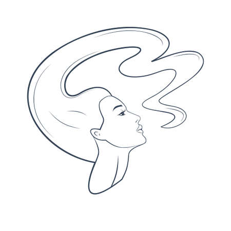 Silhouette of a woman's head and face with flying hair. Astrology zodiac sign Virgo. Vector flat design web icon