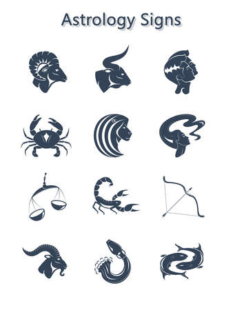 set of zodiac signs Astrology horoscope. Vector flat design cartoon web icons with handwritten text naming the mascots