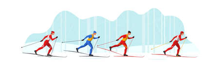 Skiers in sportswear are skiing with Ski poles and skis. Athletes participate in winter sports competition. The leader of pelothon tries to win a sprint race.Vector flat design web banner illustration