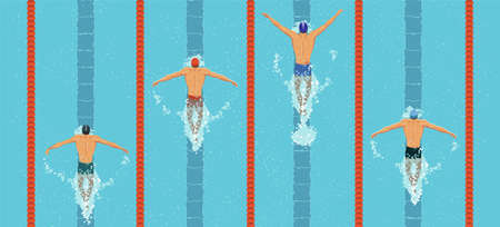Swimmers top view. men swim butterfly style in the swimming pool. Sports competition. View from above. Vector flat design illustration.