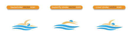 Set of Vector symbols depicting butterfly stroke, crawl stroke and back stroke swimmers. Swimming pool icon. Sports activity in water sign. Isolated in white background.