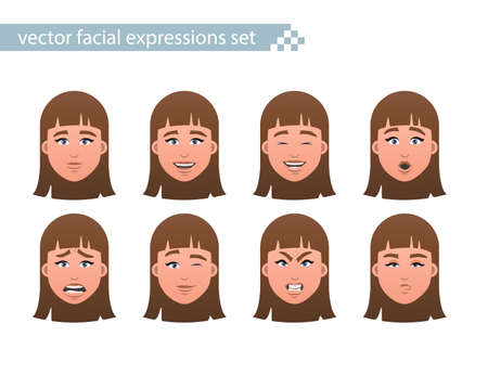 Set of teenage girl faces with different facial expressions. Vector Illustration