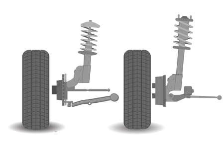 La suspension est le système de pneus, d'air de pneu, de ressorts, d'amortisseurs et de liaisons qui relie un véhicule à ses roues et permet un mouvement relatif entre les deux