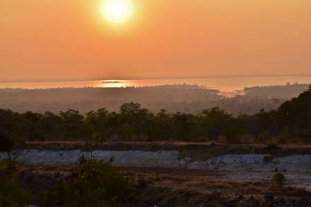 before: Atmosphere before sunset at reservoir in Ubon Ratchathani, Northeastern of Thailand