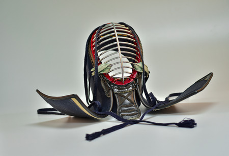 Kendo helmet close up isolate white background