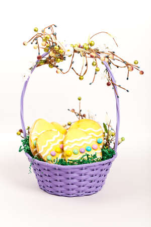 Easter cookies in a basket  photo