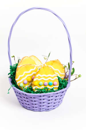 Easter basket with cookies photo