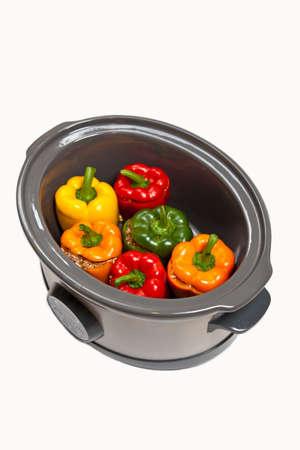 スロー炊飯器でぬいぐるみピーマン 写真素材