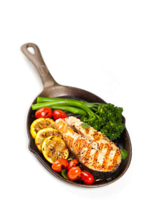 Salmon With Grilled Broccoli And Lemon photo