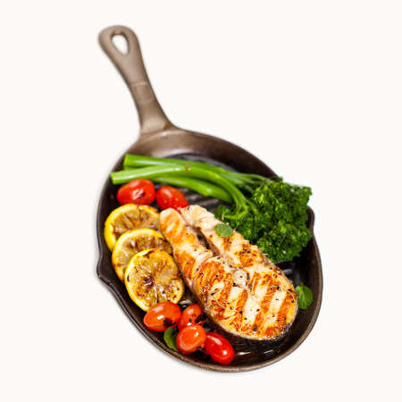 Salmon With Grilled Broccoli And Lemon Stock Photo - 19638583