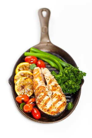 Salmon With Grilled Broccoli And Lemon Stock Photo - 19638584