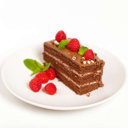 Fresh Chocolate Fudge Cake with Raspberries photo