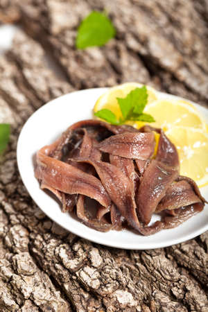 anchovy: Anchovy fillets pickled Stock Photo