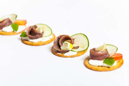 speciality: Canapes with pickled anchovy filet