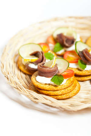 anchovy: Canapes with pickled anchovy filet
