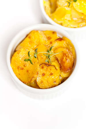 Cheesy Scalloped Potatoes  Stock Photo