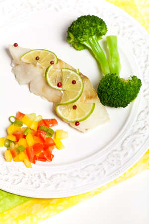 Dinner Plate with White Fish  photo