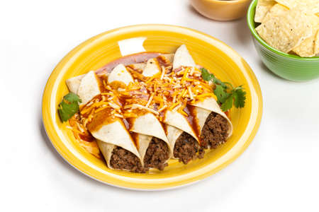 Beef Enchiladas  A traditional Mexican food  Stock Photo