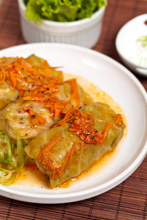 Stuffed cabbage on a white plate  photo