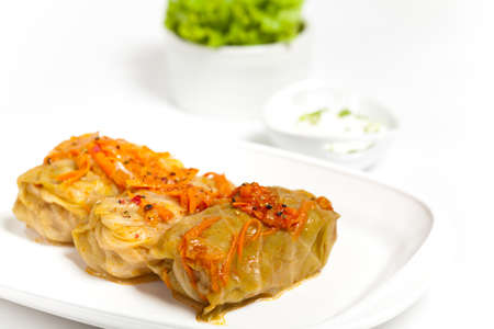Cabbage rolls stuffed with meat and vegetables