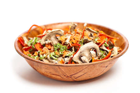 Dried vegetables slices in a bowl