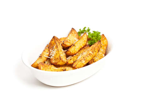 Baked Potato Wedges With Parmesan Stock Photo