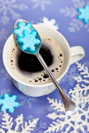 hot chocolate drink: Coffee with snowflakes shaped sugar Stock Photo