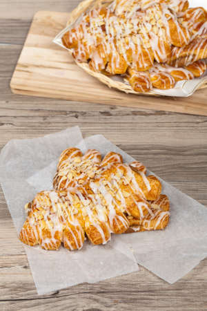 danish puff pastry: Almond Bear Claws Pastry Stock Photo