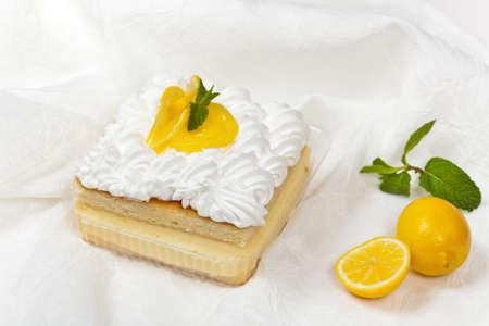 cream cake: Lemon, vanilla and custard cream cake dessert Stock Photo