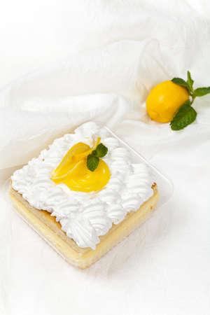 cream cake: Lemon, vanilla and custard cream cake dessert
