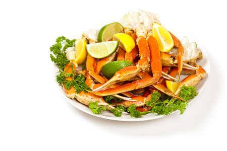 Crab legs with lemon  Selective focus  photo