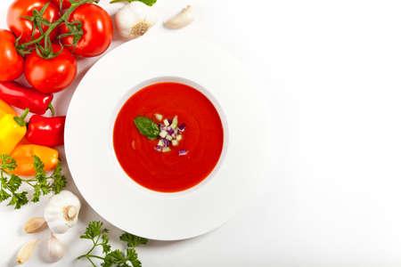 従来のトマト スープ ガスパチョ冷たい夏スープ 写真素材
