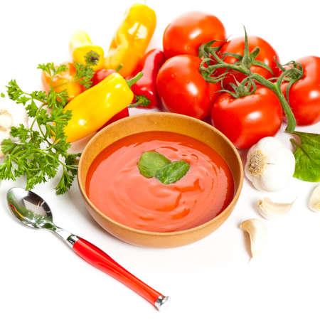 gaspacho: Bowl of tomato soup  Gazpacho  Selective focus  Stock Photo