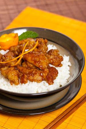 Homemade Orange Chicken with Rice  Selective focus  photo