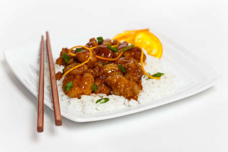 Homemade Orange Chicken with Rice  Selective focus