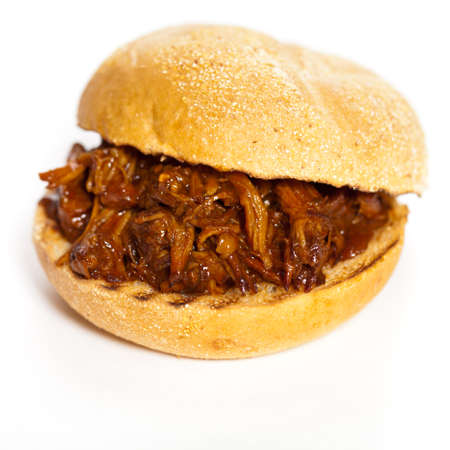 pulled: BBQ Pulled Pork Sandwich Stock Photo